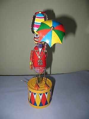 Vintage  CollectibleTin Wind-up Dancing Duck Holding an Umbrella