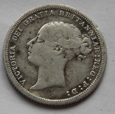 Sixpence Victoria Young Head 1887 Scarce