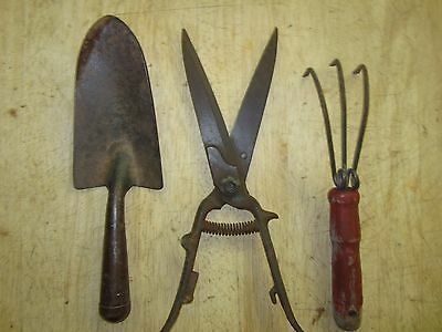 Antique Wood Iron Hand Garden Tools Shovel Rake & Cutters
