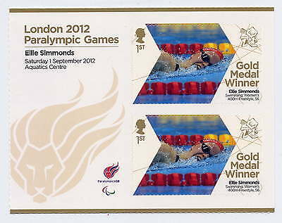 LONDON 2012 PARALYMPIC GOLD MEDAL WINNERS ELLIE SIMMONDS 400m SHEETLET MNH