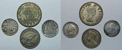4 X Silver Coins - Australia, New Zealand, South Africa