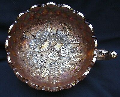Vintage Imperial Marigold Carnival Glass Pansy Quilted Diamond Handle Nappy Bowl