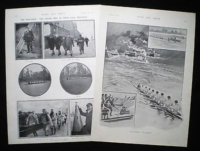 OXFORD v CAMBRIDGE UNIVERSITY BOAT RACE ROWING 2pp ILLUSTRATED ARTICLE 1901