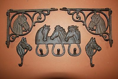 (5) Western Americana Horse Decor, Cast Iron, Shelf Bracket, Corbels, Wall Hooks