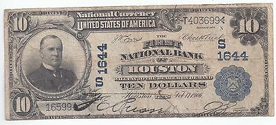 1902 Houston, Texas $10.00 Large size Note. National Currency