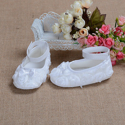 New Baby Girls White Rose Christening Party Shoes 6-9 Months