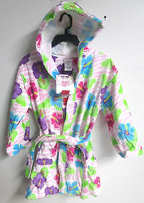 Girls White W/ Flowers Beach Cover Up Size 10/12