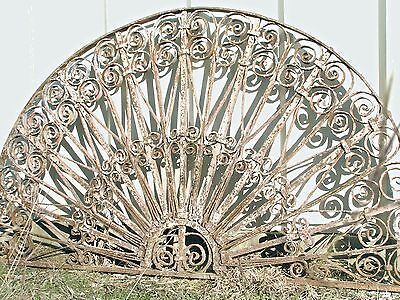 Large Architectural Salvage Iron Arch Door Window Gate Antique Fan pediment top