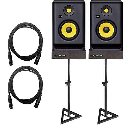 "KRK Rokit 5 G3 RP5G3 5"" Powered Studio Reference Monitor Speakers Pair w Stands"
