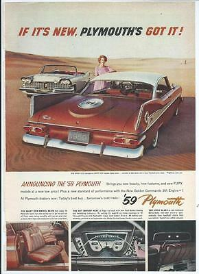 1959 PLYMOUTH Sport Fury Vintage Automobile / Car Print Ad