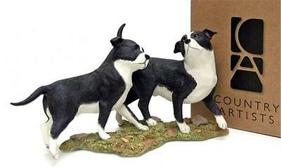 Country Artists Staffordshire Bull Terriers Playing (Staffy) RRP £28.00 NewInBox