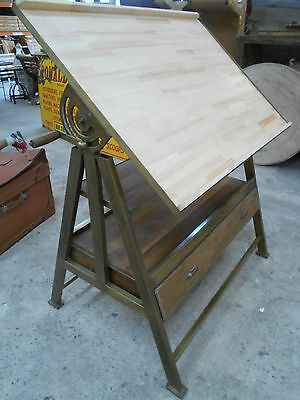 Office Iron and Timber NEW DRAFTING TABLE DRAWING BOARD Adjustable #1