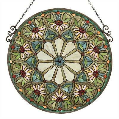 """Summer Floral Design 23.4"""" Round Window Panel Tiffany Style Cut Stained Glass"""