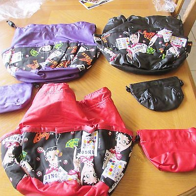 1 BINGO BAG BETTY BOOP With pockets hold all your gear Select Black Red Purple