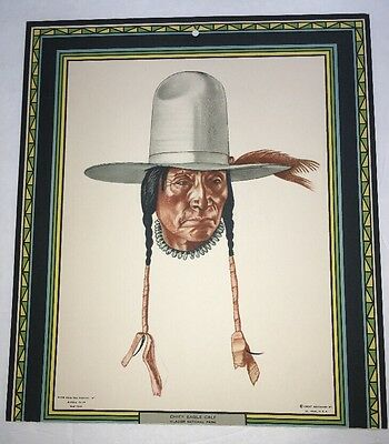 Great Northern Railroad Winold Reiss American Indian Calendar Top Chief Eagle