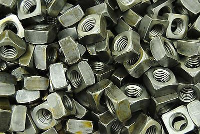(450) Unplated 5/8-11 Square Nuts - Coarse Thread - Plain Steel BULK