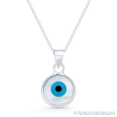 Evil Eye Mother-of-Pearl Luck Charm 925 Sterling Silver Necklace Pendant 19x11mm