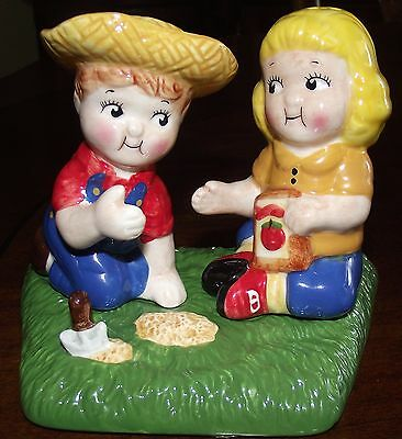 2002 Campbells Soup Kids 3 Piece Ceramic Salt and Pepper Shakers Farmers