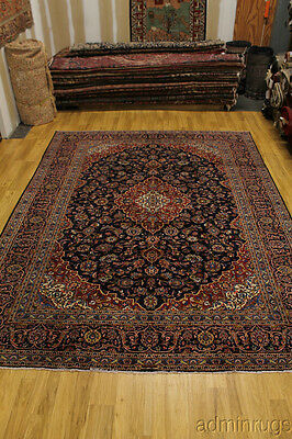 Excellent Signed Navy Traditional Kashan Persian Oriental Area Rug Carpet 10X13