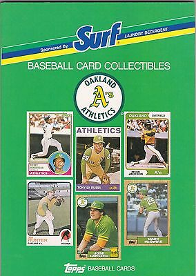 1988 Topps Surf Detergent Phila/Kansas City Oakland Athletics Baseball Card Book
