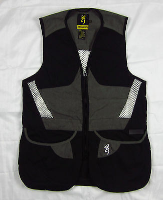 Mens NWT Browning Summit Shooting Vest Black Dark Gray Lightweight Sizes S-3XL