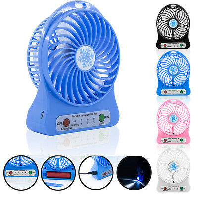 Portable Rechargeable LED Fan air Cooler Mini Operated Desk USB 18650Battery LOT