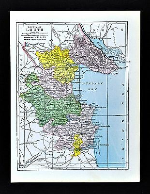 1900 Ireland Map - Louth County - Dundock Ardee Carlingford Drogheda Clogher
