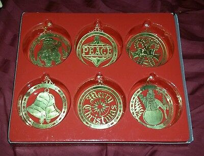 Frankel SET OF 6 SOLID BRASS VINTAGE Christmas Ornaments WOW OLD RARE HTF 1950s?