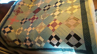 """Antique QUILT 9-PATCH VARIATION, Blue, Calico, Hand-Quilted, 72""""x72"""""""