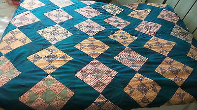 "Antique Pieced QUILT TOP, 9-PATCH VARIATION, DARK TEAL LATTICE,70""X78"""
