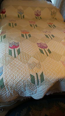 Antique Pieced Hand Quilted QUILT, TULIP PATTERN, Pale Green & Cream & Multi