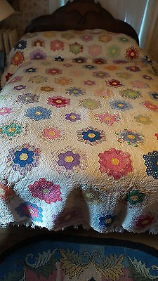 "Antique Quilt GRANDMOTHER'S FLOWER GARDEN Hand-Quilted, 82""x98"",Multi-Color"