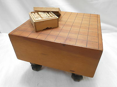 Vintage Japanese Wooden SHOGI BOARD GAME with wedges Strategy Game #21