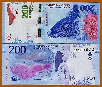 Argentina, 200 Pesos, ND (2016), P-New, A-Series, New Design UNC   Wale