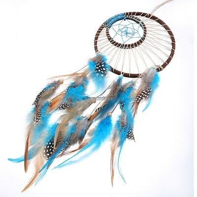 Weaved Sun and Moon Symbol Dream Catcher with Feathers Hanging Decoration ED