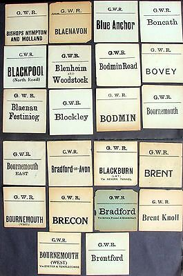 2 LUGGAGE LABELS GWR GREAT WESTERN RAILWAY inc BOURNEMOUTH via Exeter