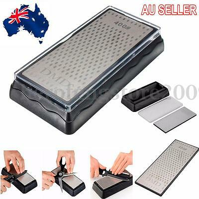 AU Double-Sided Diamond Knife Sharpener Stone Whetstone Sharpening 400/1000Grit