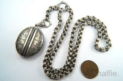 ANTIQUE ENGLISH VICTORIAN PERIOD SILVER LOCKET PENDANT & CHAIN NECKLACE c1880's