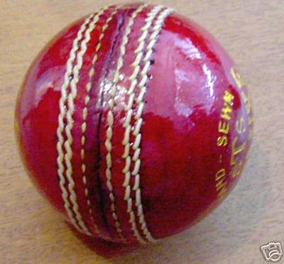1 Hand sewn four piece Red Leather 51/2oz STS cricket ball 24hr