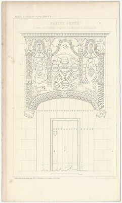 1849 Engraved Plate - Medieval Architectural Details - Carved Doorway Bordeaux