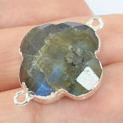 Clover Natural Labradorite Faceted Connector Silver Plated H80215