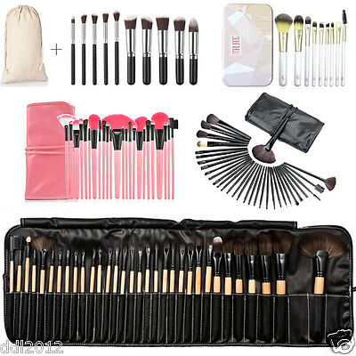 Professional 32PC Superior Soft Makeup Brush Set Kit Brushes With Leather Case