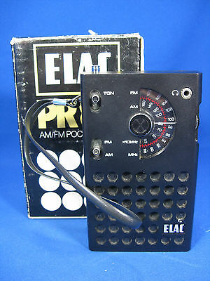 Cool 70´s vintage design Elac PR 80 transistor radio + original box NOT WORKING