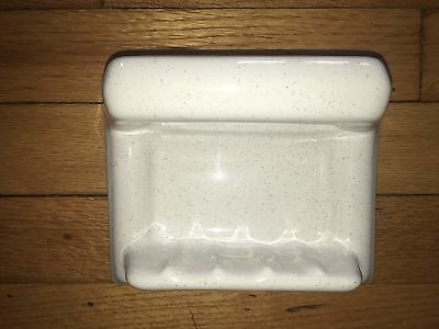 New Old Stock 1950's Porcelain Soap Holder Dish W Grab Bar WHITE GRAY FLECK Bath