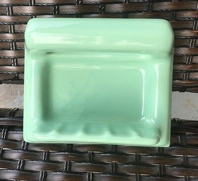 New Old Stock 1950's Porcelain Soap Holder Dish W Grab Bar SEAFOAM GREEN Bath
