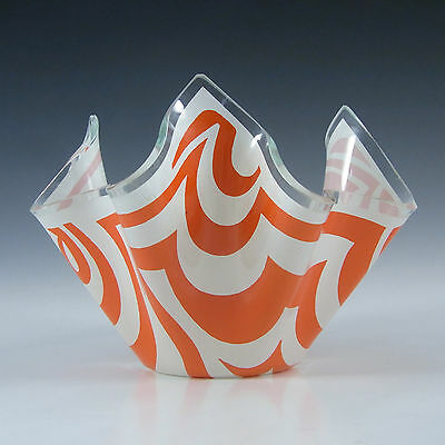 Chance Brothers Orange Glass 'Psychedelic' Handkerchief Vase #3