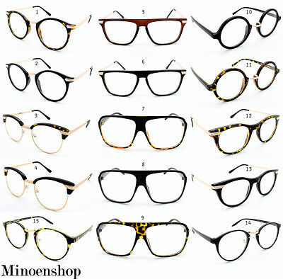 Super Vintage Clear Lens Glasses Frames Geek Nerd Men Womens