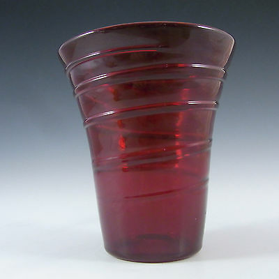 Whitefriars/Powell Ruby Red Glass Ribbon Trail Vase #8886 #1