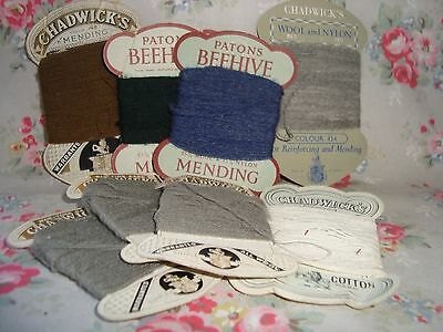 8 Cards Vintage Mending Wool Chadwicks and Patons