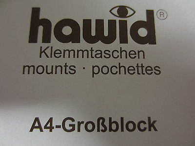 HAWID STAMP MOUNTS EXTRA LARGE BLOCK -  BLACK or CLEAR -  PACK 5 - 297mm x 210mm